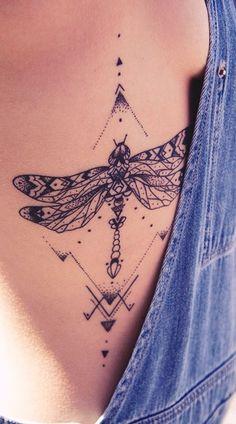 dragonfly tattoo rib