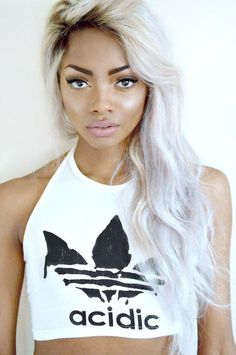 pretty brown girl with white hair love this