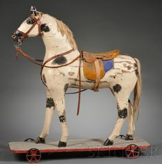 I keek an early horse under my Christmas tree. Painted Wooden Horse Pull-toy, c. late 19th