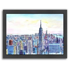 Americanflat NYC Manhattan Skyline Framed Wall Art ($130) ❤ liked on Polyvore featuring home, home decor, wall art, multicolor, motivational wall art, inspirational wall art, framed wall art, inspirational framed wall art and nyc skyline wall art