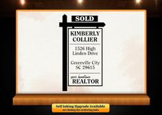 Real Estate Sold Sign Custom Rubber Retun Address by Designologist Selling Real Estate, Real Estate Sales, Sold Sign, Realtor Gifts, Address Stamp, Real Estate Business, Etsy Seller, Great Gifts, Signs