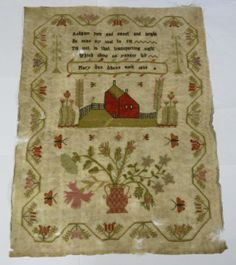 Antique Embroidered Linen Sampler 1838 31 x 42cm Named and Dated | eBay
