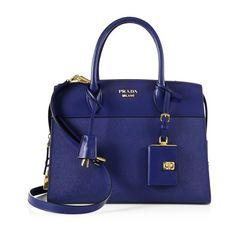 Prada Esplanade Medium Leather Tote ($2,400) ❤ liked on Polyvore featuring bags, handbags, tote bags, bluette, totes, zipper tote, leather zip tote, leather purses, blue tote bag and leather tote purse