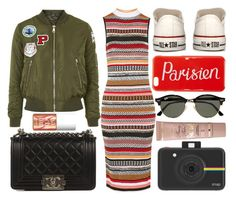 """""""street style"""" by sisaez ❤ liked on Polyvore featuring Topshop, Benefit, Chanel, Converse, Maison Kitsuné, Ray-Ban and Polaroid"""
