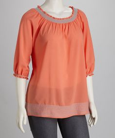 Take a look at this Coral Plus-Size Tunic by UMGEE U.S.A. on #zulily today!