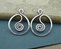 Super light weight because they are aluminum-really!  Big Spiral in a Circle Big Earrings  Light by nicholasandfelice, $ 16.00