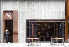 restaurant facade Lukstudio, The Noodle Rack, Changsha, China Chinese Noodle Restaurant, Oriental Restaurant, Retail Facade, Shop Facade, Shop Front Design, Store Design, Restaurant Design, Cafe Restaurant, Cafe Bar