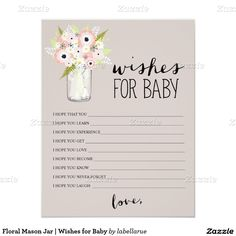 Floral Mason Jar   Wishes for Baby 4.25x5.5 Paper Invitation Card