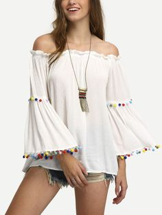 Shop White Off The Shoulder Colored Pompom Trim Blouse online. SheIn offers White Off The Shoulder Colored Pompom Trim Blouse & more to fit your fashionable needs.