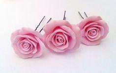 Blush Pink large rose  Bridal Hair Accessory by NikushJewelryArt, ₪100.00
