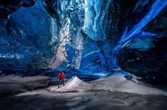 Einar Runar Sigurdsson standing in the Lightroom in the Crystal Ice Cave in Vatnajokull close to Skaftafell in southeast Iceland Tours In Iceland, Iceland Photos, Iceland Travel, National Geographic, Ice Cave Iceland, Iceland Adventures, Cave Tours, Mekka, Adventure Photos