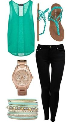 Summer outfit for a casual night out - bright tee, black skinnies and sandals with layered accessories