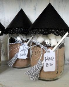 "witch's brew"" hot chocolate party favors or gifts."