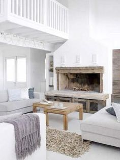 house design decorating before and after home design house design White Fireplace, Living Room With Fireplace, Fireplace Design, Home Living Room, Living Spaces, Wood Fireplace, Basement Fireplace, Style At Home, White Rooms
