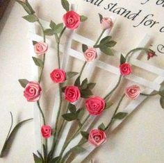 Custom Quilled Frame, Climbing Pink Rose Bush on a Trellis with Verse