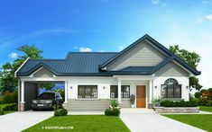 Home design plan with 3 Bedrooms.House description:One Car Parking and gardenGround Level: Living room, Dining room, Kitchen, backyard, storage Bungalow Haus Design, Modern Bungalow House, Bungalow House Plans, Tiny House, Rest House, Single Storey House Plans, One Storey House, Model House Plan, My House Plans