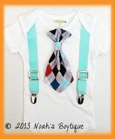 Baby Boy Clothes   Grey Argyle Tie Bodysuit  by NoahsBoytiques, $19.00