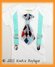 Baby Boy Clothes   Grey Argyle Tie Bodysuit  by NoahsBoytiques, $19.00