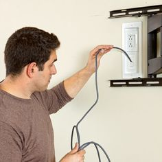 Hiding cables when hanging a flat-screen tv