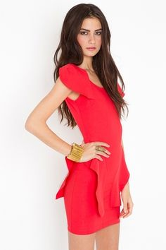Victoria Peplum Dress - Poppy - StyleSays