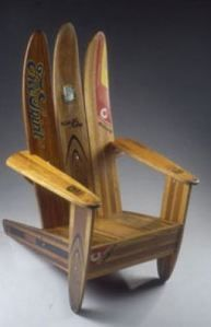 Old wood skis become a chair