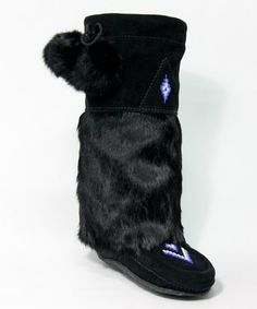 Loving this Black Tall Classic Suede & Fur Boot on #zulily! #zulilyfinds