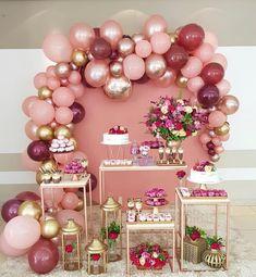 Balloon wall decor and flowering birthday party concept. Balloon Garland, Balloon Decorations, Birthday Party Decorations, Baby Shower Decorations, Wedding Decorations, Balloon Wall, 18th Birthday Party, Sweet 16 Birthday, Birthday Ideas