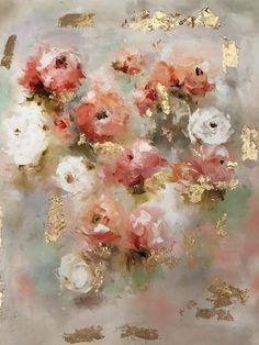 Scarlett, fine art oil painting, roses, gold leaf, floral, vintage, amyabig.com