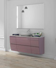 Mueble de baño suspendido modelo Copenhague con dos cajones y tirador de uñero. Disponible en varias medidas, con el frontal liso o tallado, lacado brillo UV acrílico. Cierre progresivo Hettich. Interior en cromo brillo. Dispone de una gran variedad de encimeras y lavabos. Grifos, espejo y apliques no incluidos. Medidas: 60, 80, 90, 100, 120 y 150 cms x 46.5 cms x 58 cms (ancho x fondo x alto). Plazo de entrega: 15-20 días. Vanity Units, Loft, Bathroom, Vanity Tops, Bathroom Furniture, Bathroom Sinks, Mirrors, Quartos, Appliques