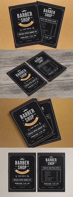 Barber Shop Flyer Template AI, PSD
