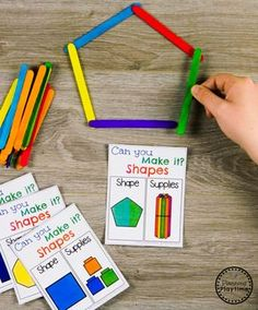 Geometry - Building Shapes Activity for Kindergarten Math - PreK Math activities - Shape Activities Kindergarten, Geometry Activities, Kindergarten Centers, Preschool Math, Kindergarten Classroom, Fun Math, Teaching Math, Summer School Activities, Interactive Activities
