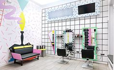 '80s Redux: Memphis-Inspired Design at the YMS Hairstyle Salon