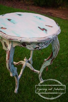 Heavily Distressed Teal Table Using DIY Chalk Paint