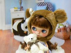 Brown Bear Blythe Doll Helmet / fun fur / OOAK by AltheasDollHouse, $34.90