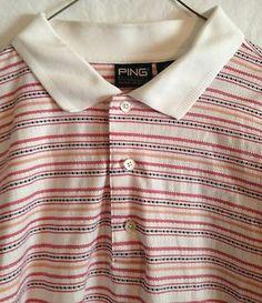 Mens PING XLarge Golf Polo Shirt Red Orange White Black Stripe Double Mercerized