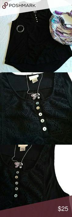 Self Esteem black sleeveless blouse. Self Esteem black sleeveless blouse... very pretty crocheted looking details in front...faux pearlized buttons... excellent condition. Self Esteem Tops Blouses