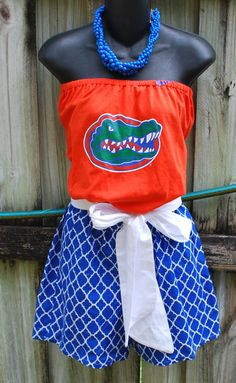 University of Florida Gators Game Day Romper Jumper Jumpsuit with Sash Upcycled T-Shirts Small Ready to Ship by gamedaychicflorida on Etsy