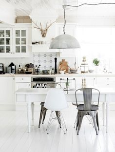 white plank floors and white plank ceiling. #kitchen