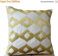 Gold Pillows, White Silk Gold Ikat Embroidered Pillow, White Gold Pillow, Silk Couch P Ikat Pillows, White Cushions, Gold Pillows, Couch Pillows, Decorative Throw Pillows, Designer Pillow, Pillow Design, White Pillow Cases, Silk Pillow