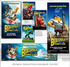 """""""Bob Esponja un héroe fuera del agua"""" - Vallas digitales y Parabuses para Paramount Pictures México - Enero 2015"""