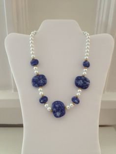 ONE OF A KIND FASHION! *Handmade* SALE White & Gold Pattern Necklace with Blue Marbled Porcelain