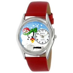 Whimsical Women's Christmas Snowman Red Leather Watch. #Christmas #snowman #holidays