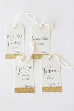 Glitter Tags With Custom Calligraphy For Wedding Event Party Or Shower Name And Table Number