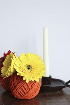 diy: pumpkin inspired flower votive for Poppytalk by Anamu