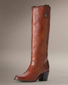 Jackie Button - The Frye Company. Not sure about the heel, but I love the color and leather of these.