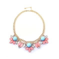 """Clo Clo London - Kaitlyn Pink version. French court style necklace withl faux stones Length: 40cm (15.7"""") - 48cm (18.9"""")"""