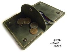 Men Women Leather Wallet  Handmade minimal green от MyLeatherCase