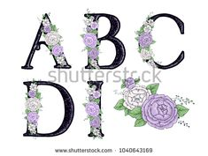 Letters with lilac, white and purple peonies. Flower alphabet. Vector illustration.