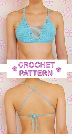Top de bikini triangular ganchillo con por AkariCrochetPatterns