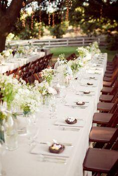 Romantic, Summertime, Vintage-Inspired Wedding - Reception,  White,  Wedding